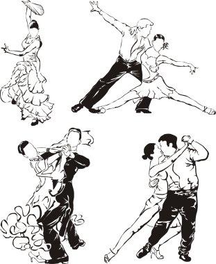 Ballroom dancing silhouettes