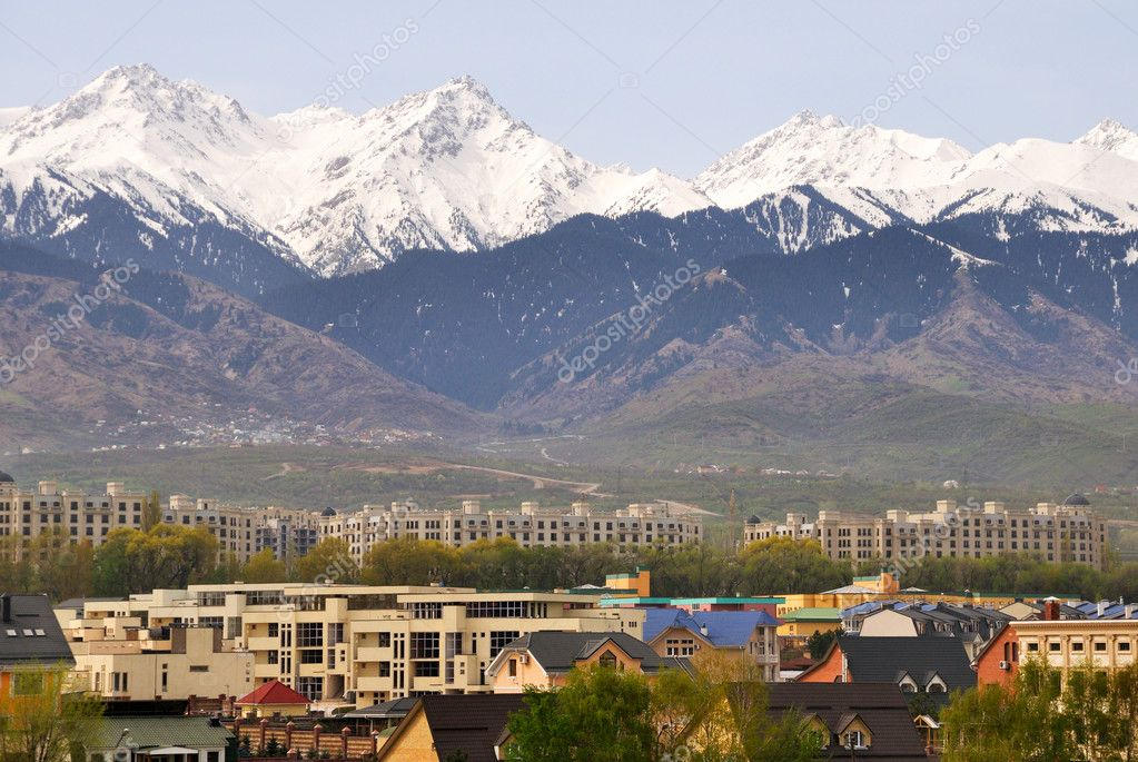 Almaty uptown at the foot of Tien Shan