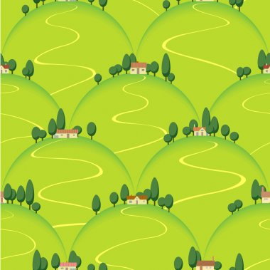 Landscape country house on hill vector seamless background stock vector
