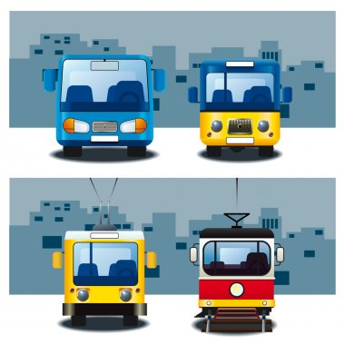 Two buses, tram and trolley bus. stock vector