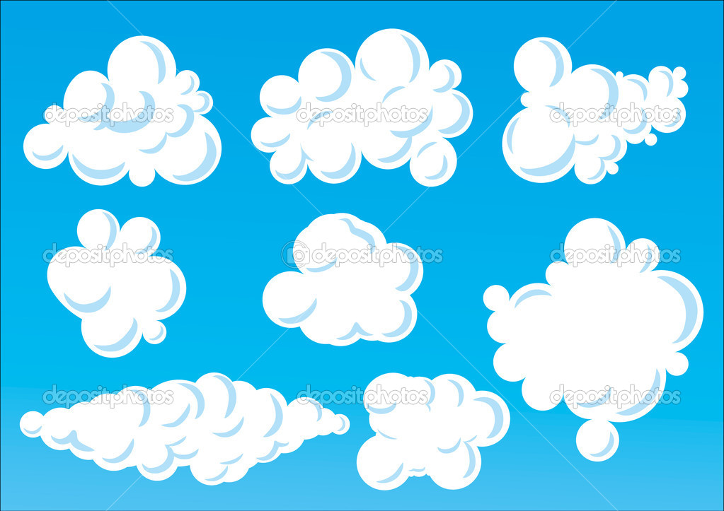 Cartoon funny clouds.