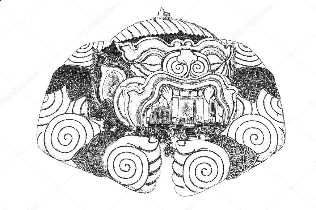 Schwarze und weiße Hanuman mit dem Tabernakel Zeichnung Tattoo-Stil ...