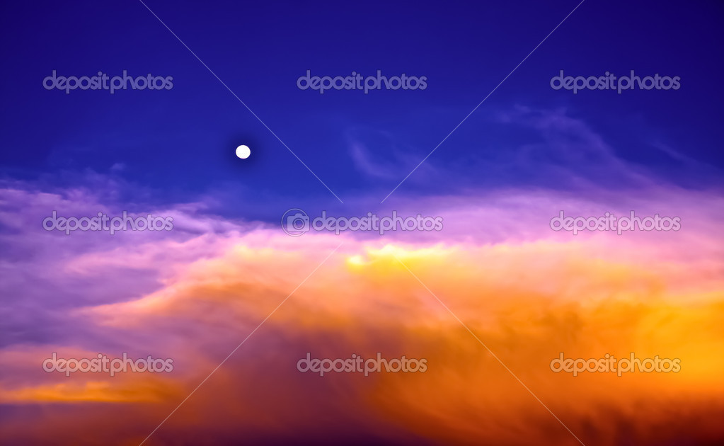 Beautiful sky and clouds with full moon in twilight time