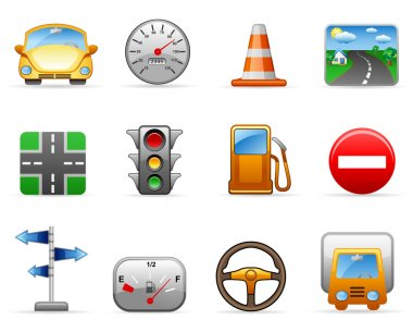 Transport and Road icon set. Isolated on a white background. clip art vector