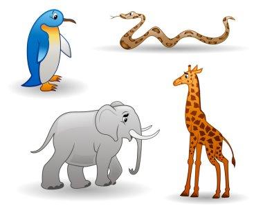 Animals: penguin, giraffe, snake, elephant