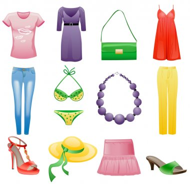 Women's clothes and accessories summer icon set.