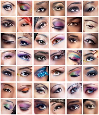 Collection of female eyes images with creative makeup, differen