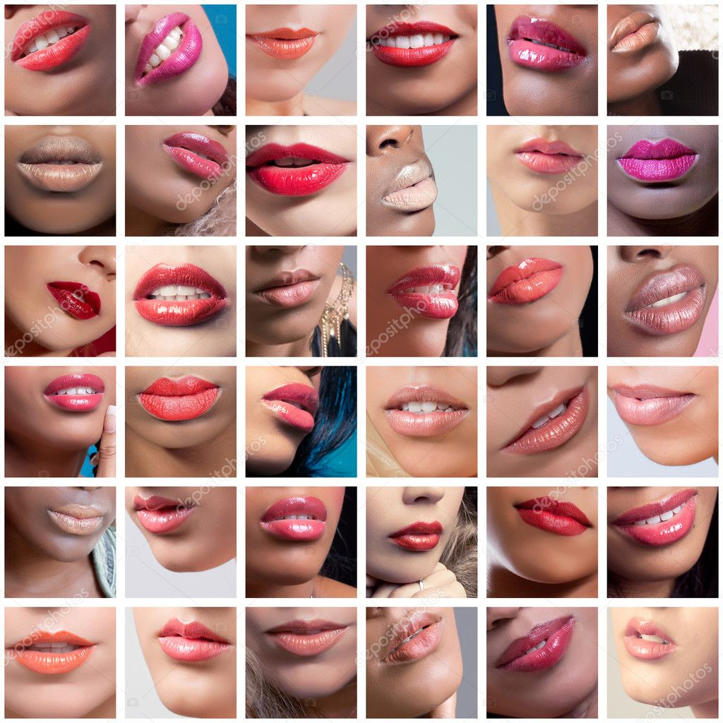 Collection of female lips images, set of different ethnicities