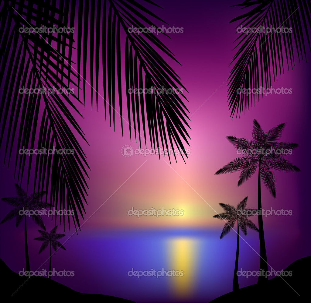 Beautiful tropical sunset beach