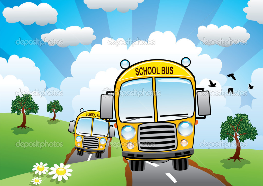 School buses on a country road