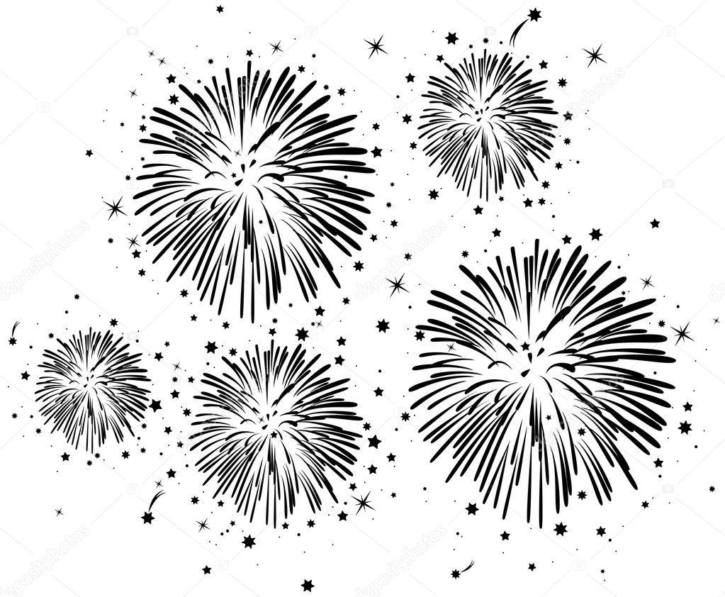 Black And White Fireworks Stock Vector 169 Dmstudio 6244042