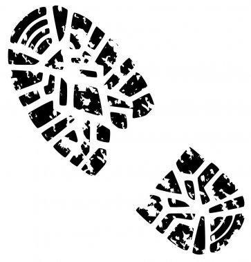 Man's grunge foot print