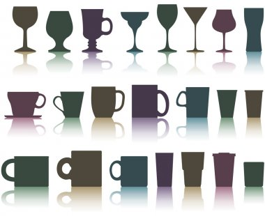 Set of cups, mugs and glasses