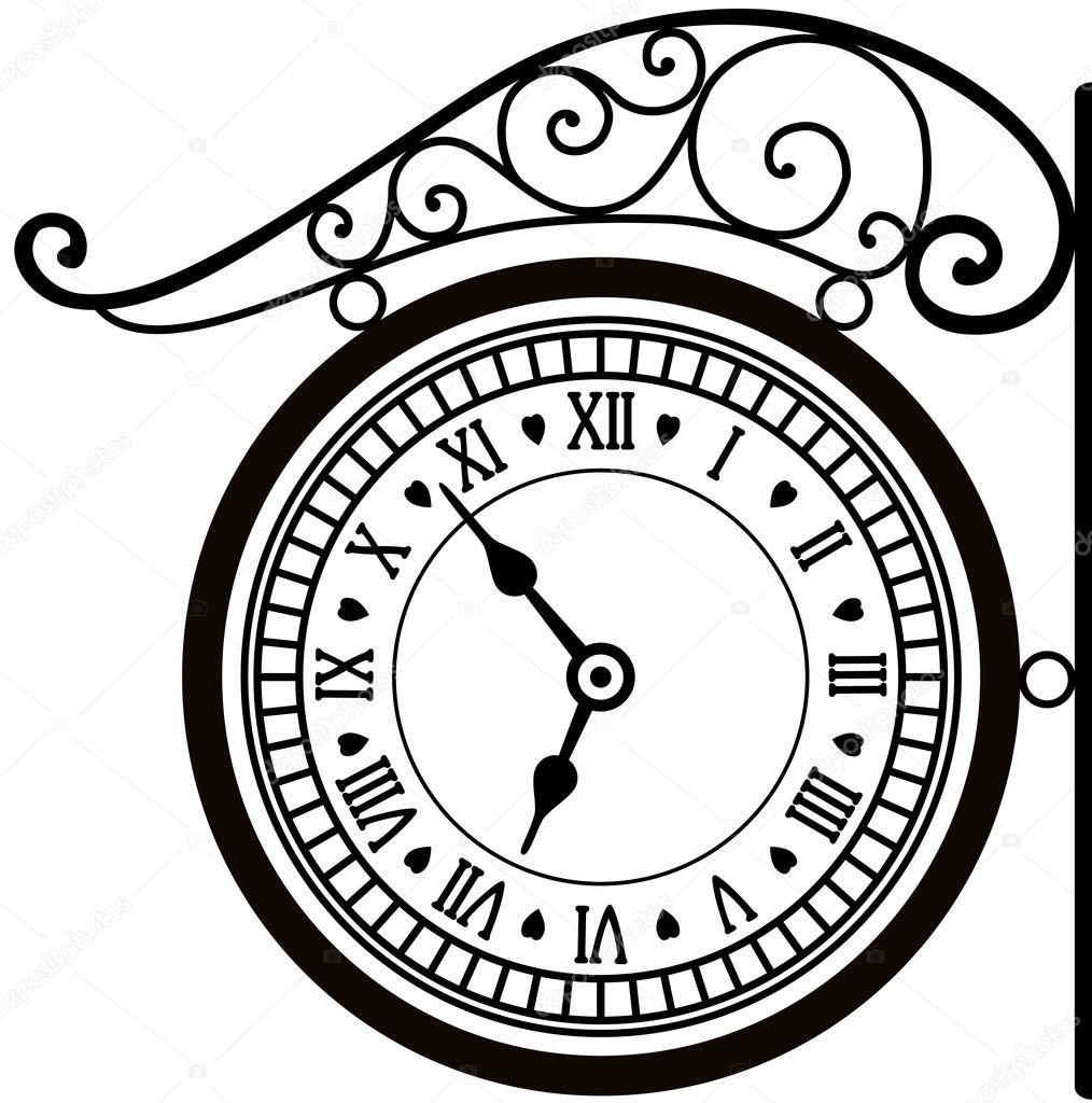 Vector Drawing Lines Html : Retro street clock — stock vector dmstudio