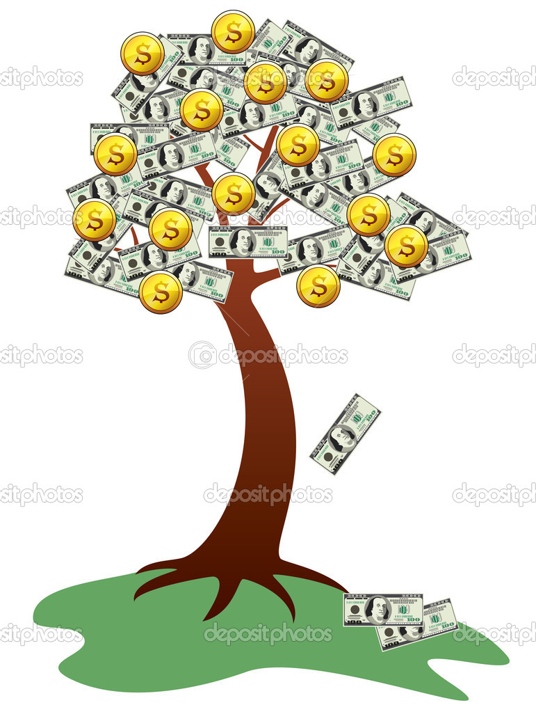Money tree with fruits and leaves