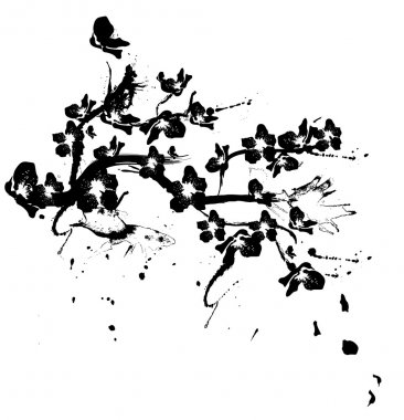 illustration with cherry tree flowers silhouette on white backgr