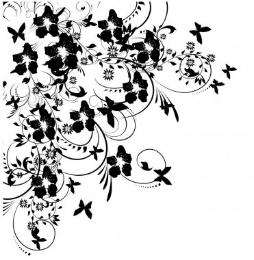 Flowers and butterflies silhouette on white background