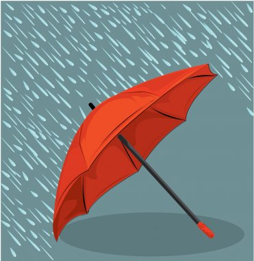 in the rain umbrella vector