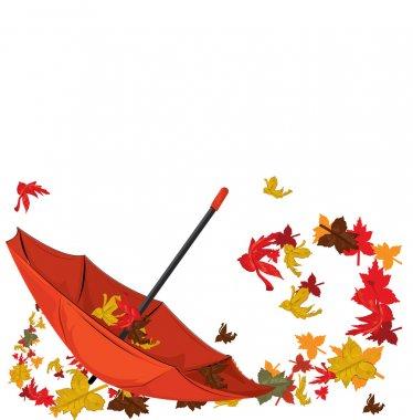 Autumn umbrella with maples, autumn card. vector illustration