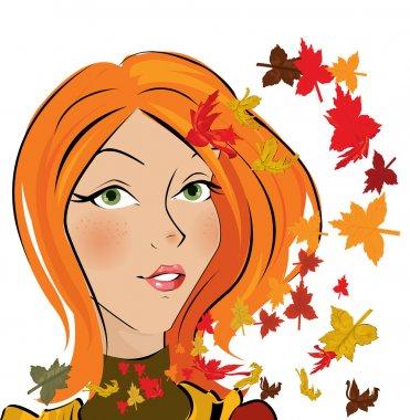 Vector autumn girl