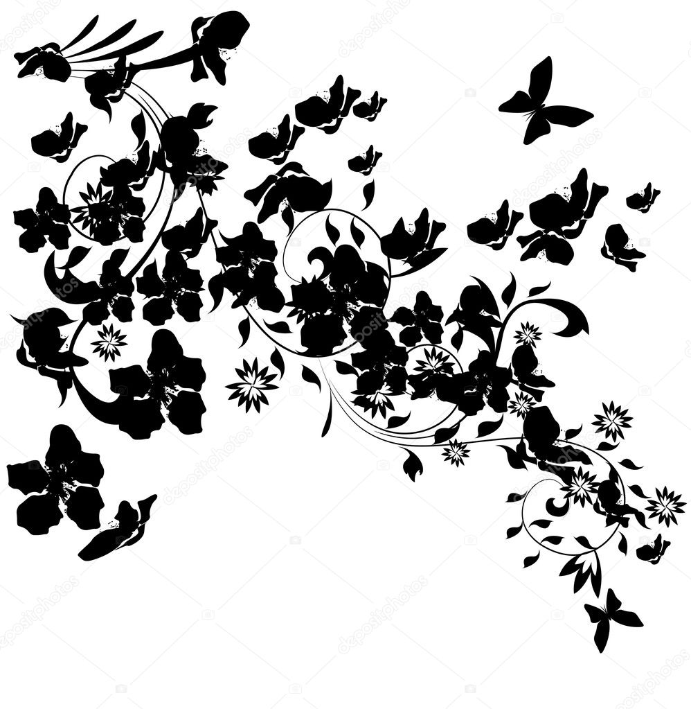 illustration with cherry tree flowers and butterflies silhouette