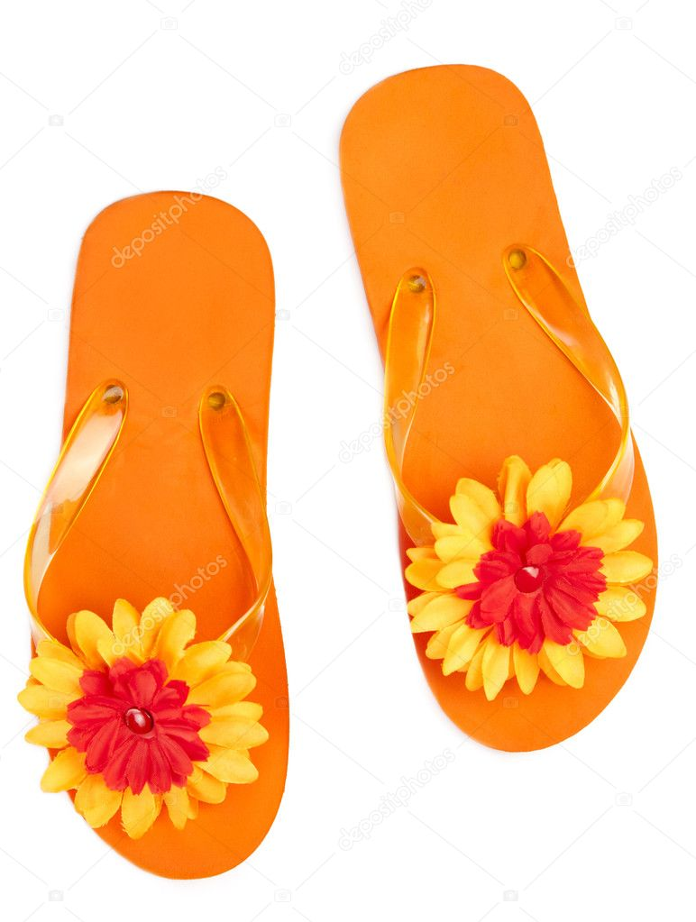 Orange Flip Flops With Flowers Stock Photo Twixx 6706432