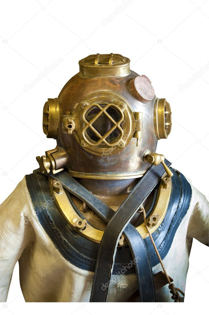 Diving helmet and suit, isolated
