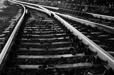 Black and white photo of some old rails