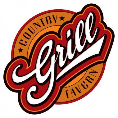 'grill' sign/logo - hand lettering design; scalable and editable vector illustration (eps8); stock vector