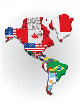 Outline maps of the countries in North and South America continent