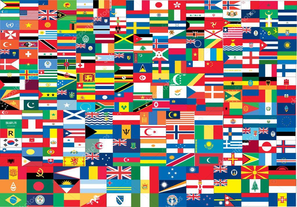 Complete set vlaggen van de wereld stockvector bakelyt 5803620 - Basket thuis van de wereld ...