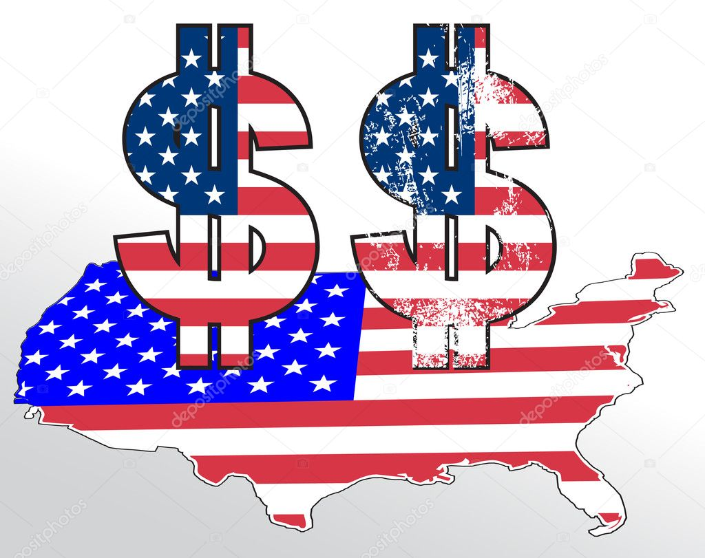 signo de dólar con la bandera de los e.e.u.u. y mapa — Vector de ...