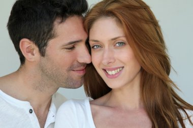 Portrait of in love couple stock vector