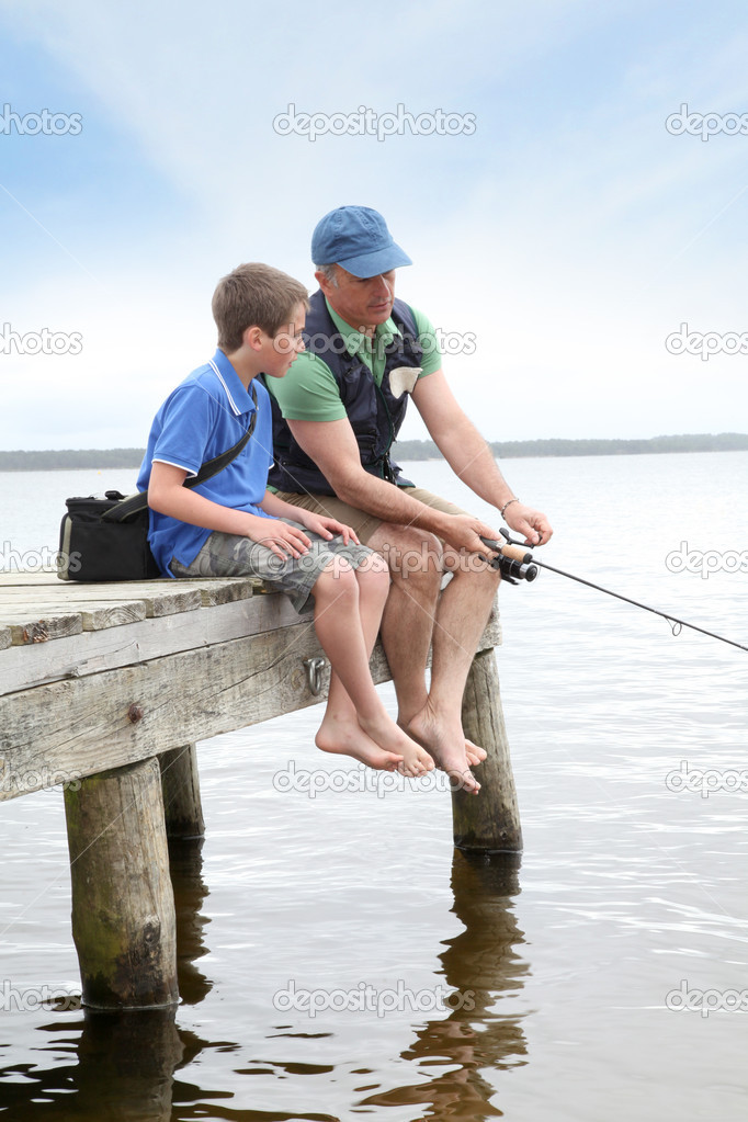 Fishing in lake
