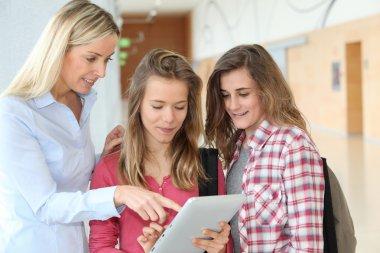 Teacher and teenage girls