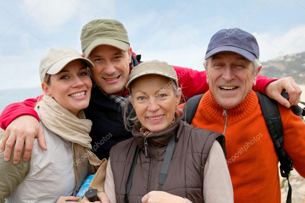 Portrait of happy group of hikers