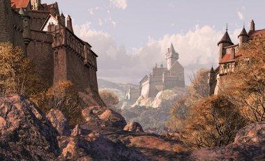 """Картина, постер, плакат, фотообои """"деревенский замок в средневековье """", артикул 5708587"""