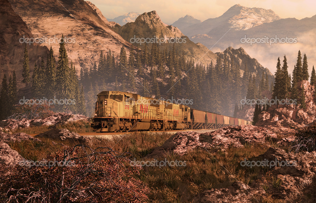 Diesel Locomotive In The Rockies