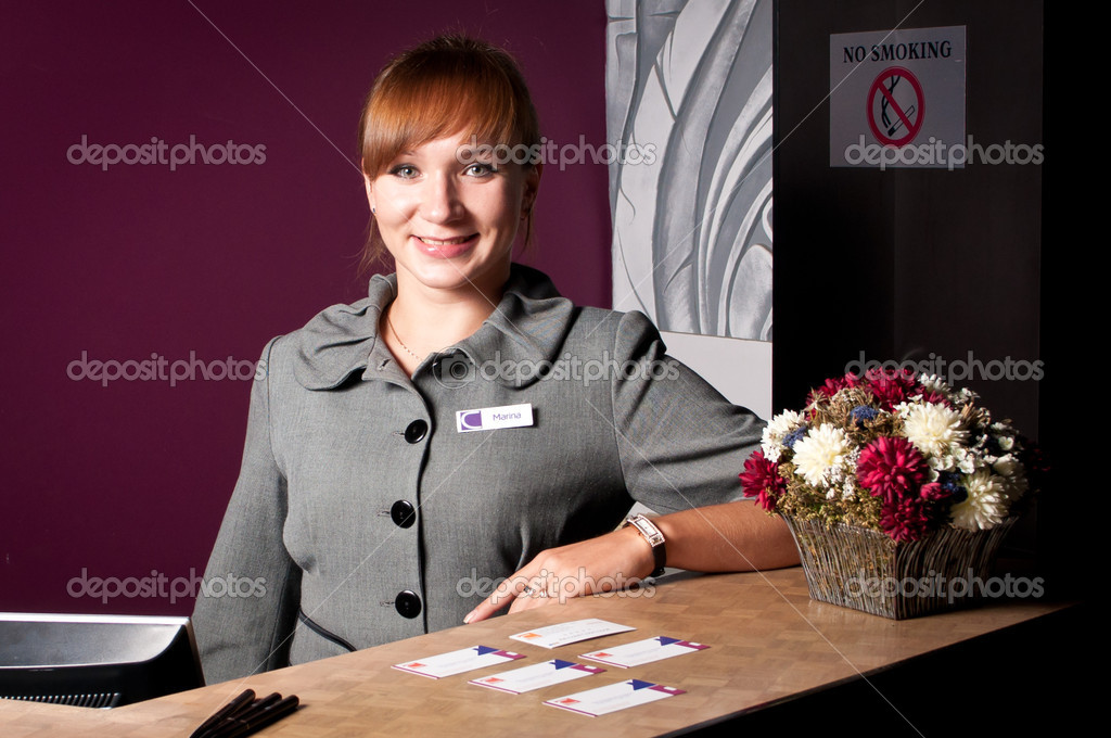 Receptionist at the reception desk