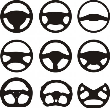 Silhouettes of steering wheels