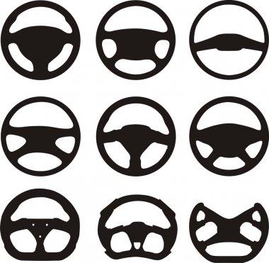 Silhouettes of steering wheels