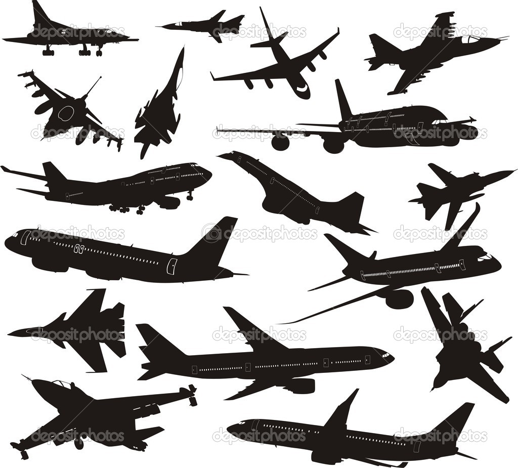High Detailed Soviet Military Aircrafts And Weapon Set. Vector ...