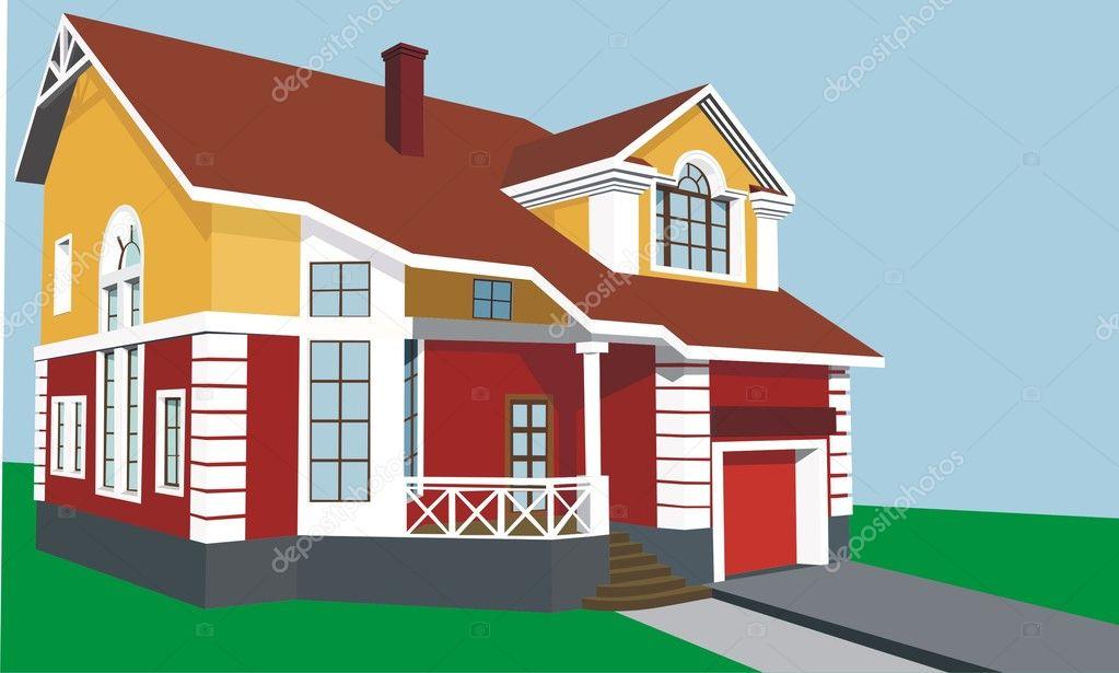 Casa Con Porche Y Garaje Archivo Imágenes Vectoriales