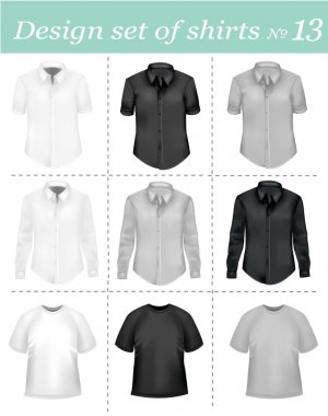 Black and white men polo shirts and t-shirts. Photo-realistic vector.
