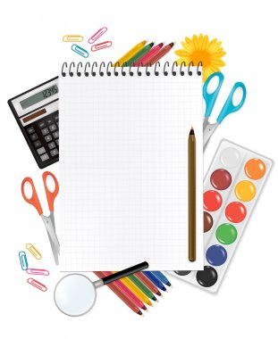 Notepad with school supplies. Vector.