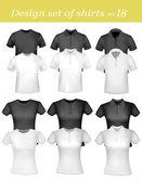 černé a bílé mužů a žen, polo košile a trička. vektor