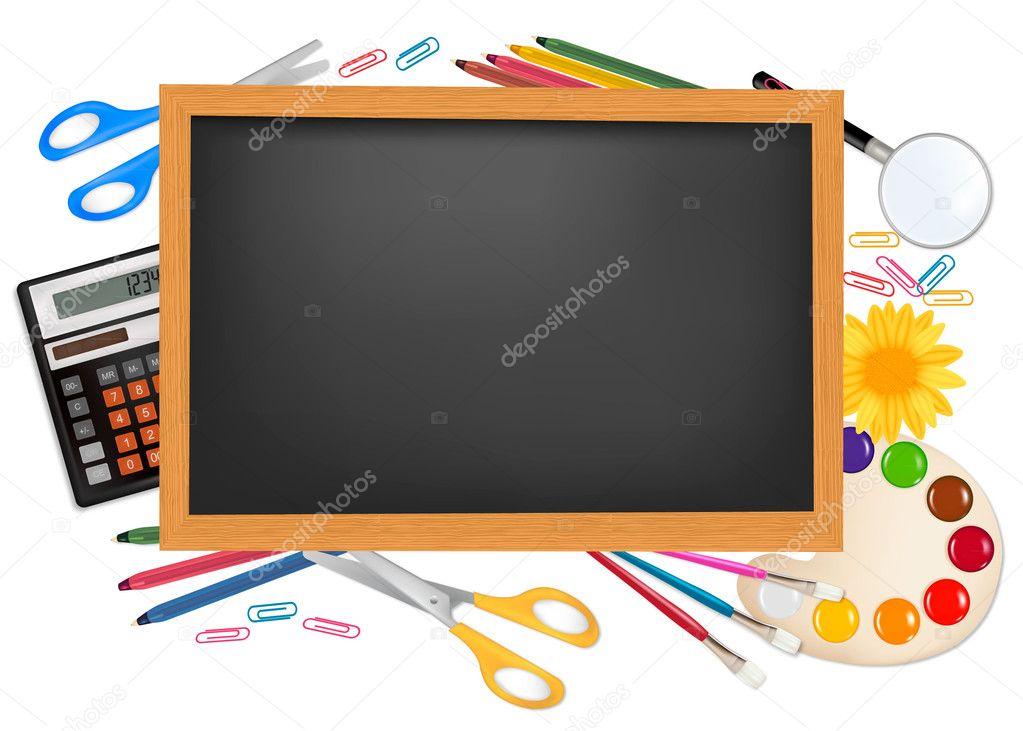 Fondo Utiles Escolares Vector: Pizarra Con útiles Escolares. Vector