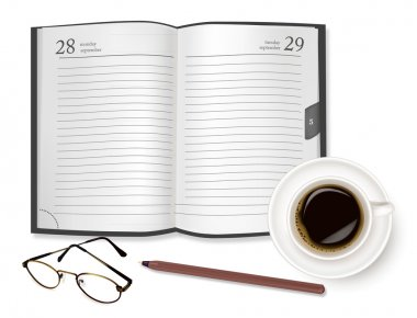 Dairy-book, cup of coffee and office supplies. Vector.