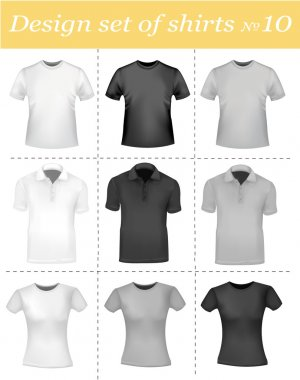 Black and white t-shirts. Photo-realistic vector illustration.