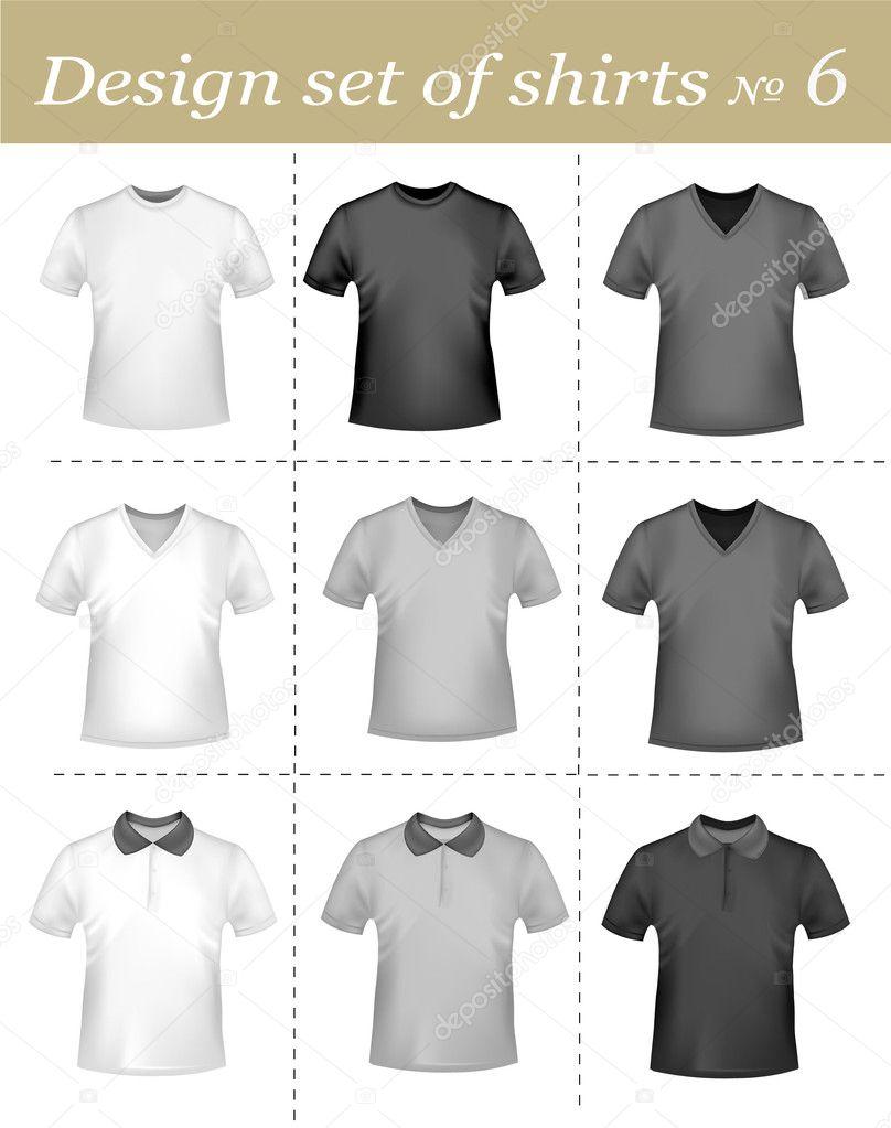 2cc45cd1e52a Μαύρο και άσπρο t-shirts. φωτο-ρεαλιστικά διανυσματικά εικονογράφηση — Διανυσματικό  Αρχείο